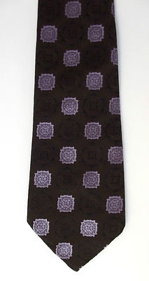 Prova brown tie Purple brocade pattern vintage 1980s polyester Hand washable